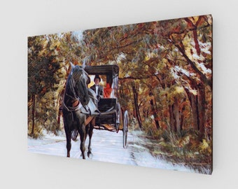 Horse Buggy Trail Canvas Wrapped Painting