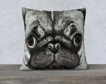 Pug Shot Square Pillow Case