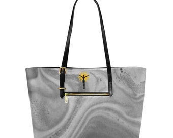 Large Leather Tote Bag grey stone
