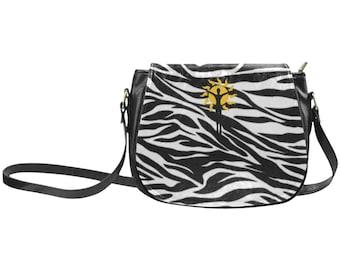 Saddlebag Purse Leather Zebra Striped