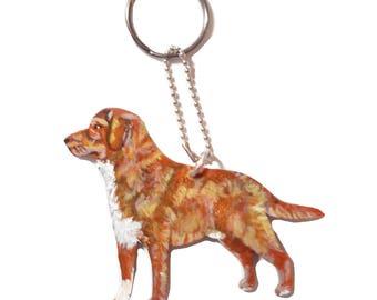 Toller Dog Wooden Keychain