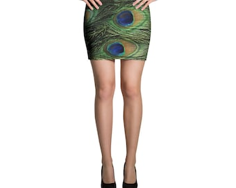 peacock Feathers Mini Skirt
