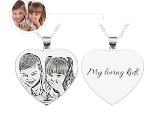 Photo Custom Sterling Silver Heart Necklace
