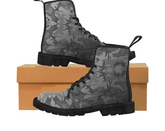 Men's Martin Boots Grey Camouflage