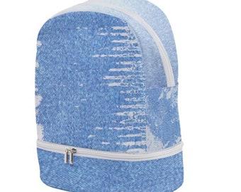 Zip Bottom Denim Backpack