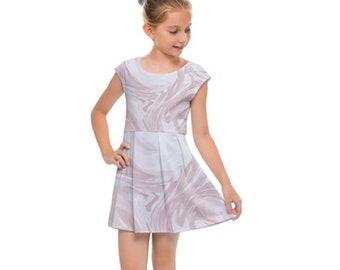 Girl's Cap Sleeve Dress Pink Marble