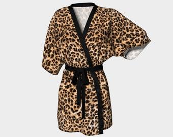 Leopard Print Kimono Robe