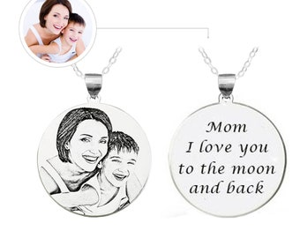 Sterling Silver Round Photo Engraved Necklace