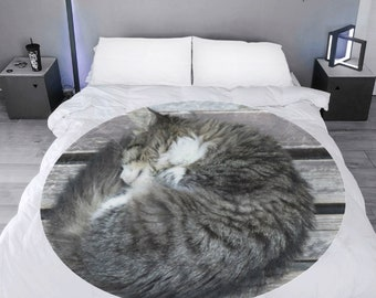 Microfleece Round Throw Blanket cat curl