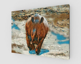 Charging Rhinoceros Canvas Gallery Wrapped Art Print