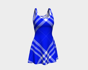 Ocean Blue Plaid Flare Dress