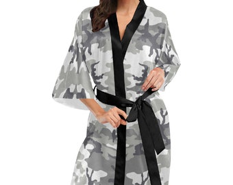 Women's Kimono Robe Grey Camouflage