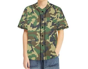 Kid's Baseball Jersey Green Camo