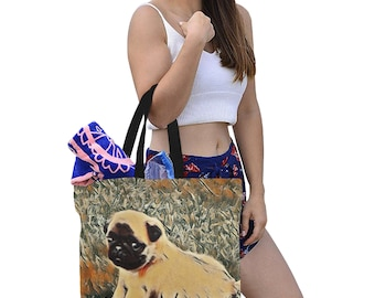 Tote Bag Canvas three Sizes Pug Puppy