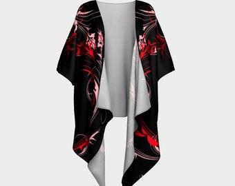 Draped Kimono Red Swirl
