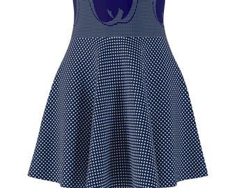 WomenS Skater Skirt Checker Blue