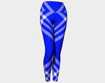 Ocean Blue Plaid Yoga Leggings
