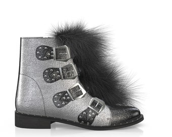 Women's Silver Straps And Metals ankle Boots