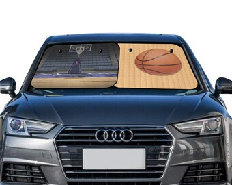 Car Sun Shade Two Pieces Basketball Theme