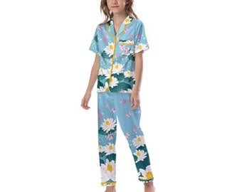 Kid's Satin Short Sleeve Pajamas Fairy tale sweet