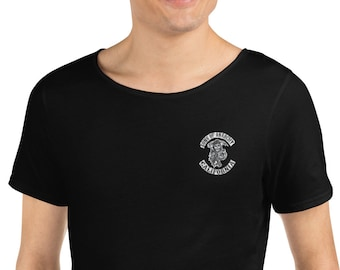 Men's Raw Neck Tee Embroidered Sons of Anarchy