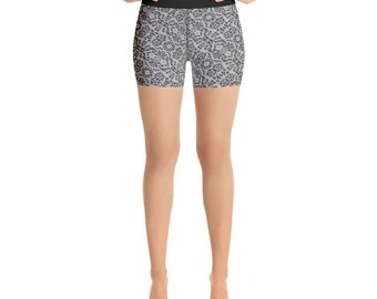 Yoga Shorts Black Lace