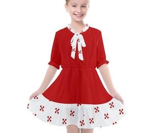Girls Frill Chiffon Dress Red