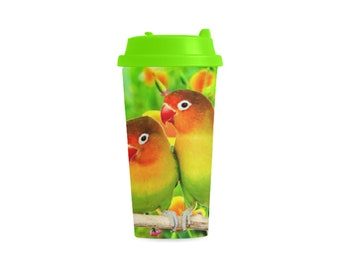 Double Wall Plastic Mug lovebirds design