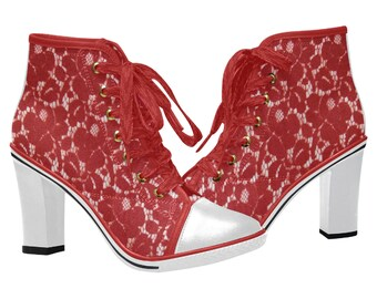 Women's Chunky Heel Ankle Boots Red Lace White Heel