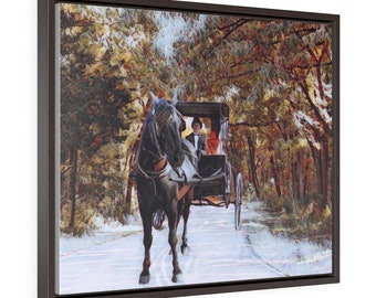 Horizontal Framed Premium Gallery Wrap Canvas Horse Buggy