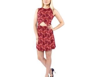 Women's Sleeveless Cut Out Waist Knotted Dress