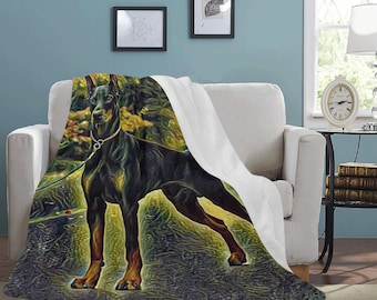 Micro Fleece Ultra Soft Doberman Print Blankets