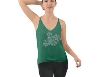 Women's Layered Chiffon Green Camisole