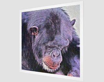 Thinker Chimp Art Print