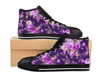 Women HighTop Sneakers Pink Carnation Print