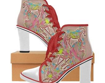 Women's Chunky Heel Boots Dreamy Horse