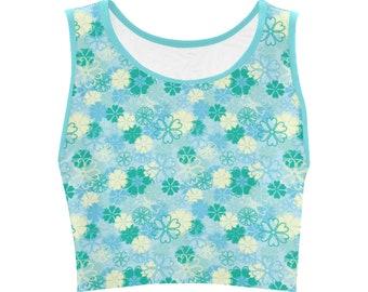 Women's Teal Color Flowered Crop Top