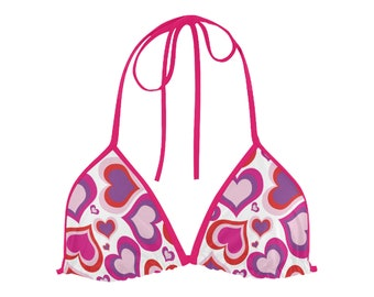 Women's Pink hearts Bikini Top
