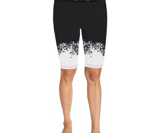 Women's Knee Length Compression Shorts Black White Lace