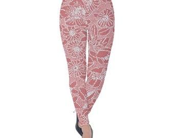 Women's Velvet Leggings Pink Floral