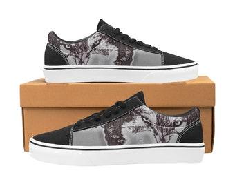 Men's Low Top Skateboard Shoes Scribble Wolf