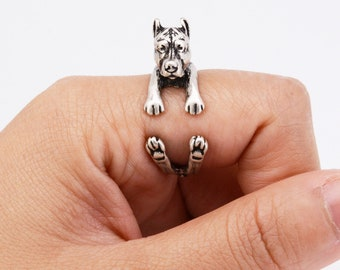 Pit Bull Silver Adjustable Ring