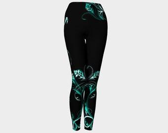 Yoga Leggings Turquoise Swirl