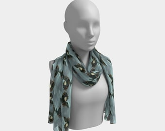 Butterfly Blue Long Scarf