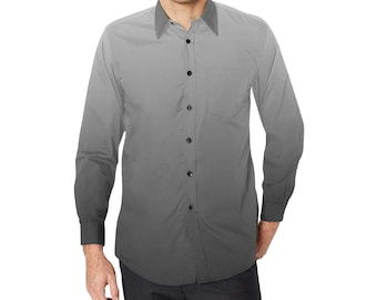 Men's Long Sleeve Button Shirt Grey
