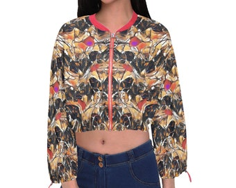 Women's Cropped Chiffon Jacket Camo Mix