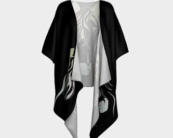 Black Kimono Robe Horse Design