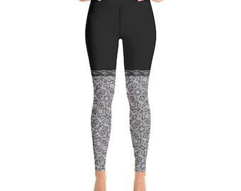 Yoga Leggings Black With Lace