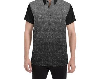 Men's Button Short Sleeve Shirt Black Ash