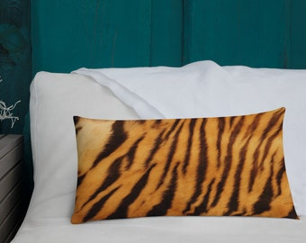 Tiger Print Premium Pillow Case w/ stuffing